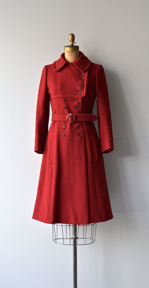 c3113ebb2c Junior Gallery coat • vintage 70s red coat • 1970s wool military ...