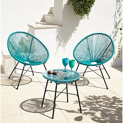 Camden 3 Piece Bistro Set Green And Blue Home Garden George At