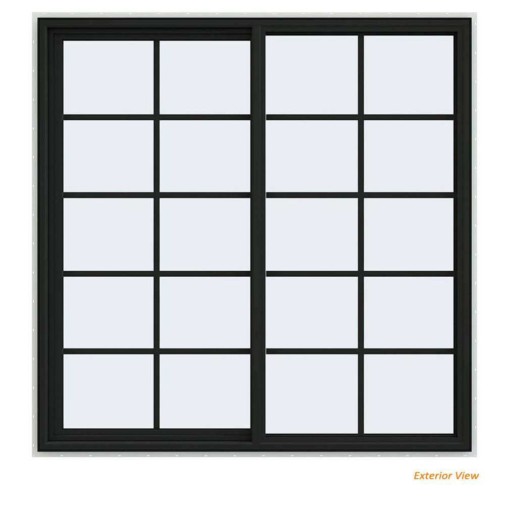 Jeld Wen 59 5 In X 59 5 In V 4500 Series Bronze Painted Vinyl Left Handed Sliding Window With Colonial Gri In 2020 Sliding Windows Vinyl Sliding Windows Green Energy