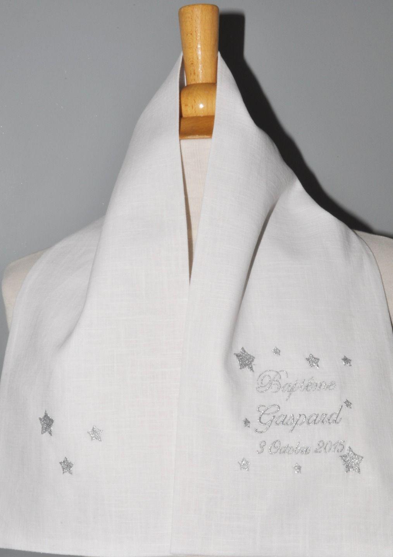 39b09ba4ed2b écharpe étole de baptême étoile en lin personnalisée brodée pour garçon ou  fille   Mode Bébé par lbm-creation