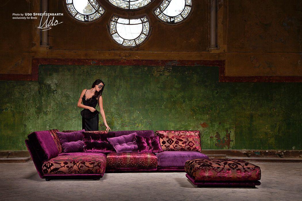 NAPALI Sofa: Purple sectional lounge; Signature Bretz upholstery ...