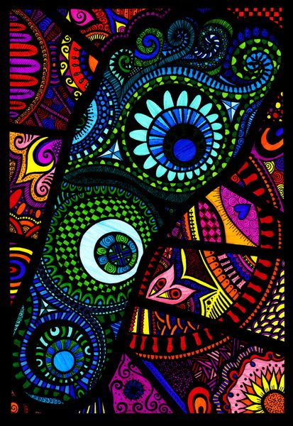 Foot Bound Art Print by Wealie | Society6  Print of an original fine liner abstract zentangle doodle art design, coloured with felt tips.