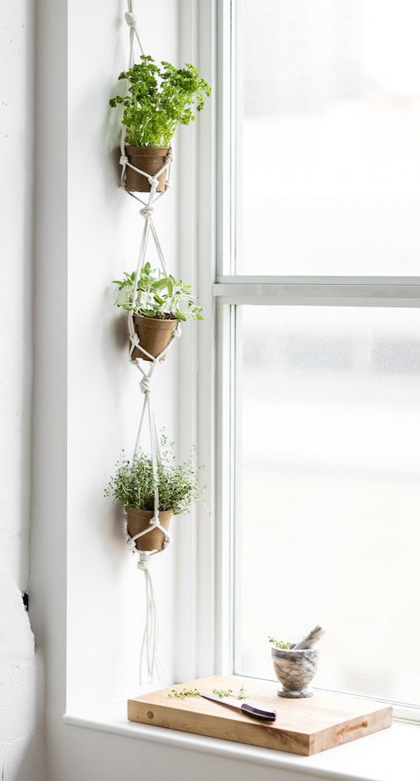 if space is premium but you still want to grow your favorite herbs then try these 17 hanging herb garden ideas - Hanging Herb Garden