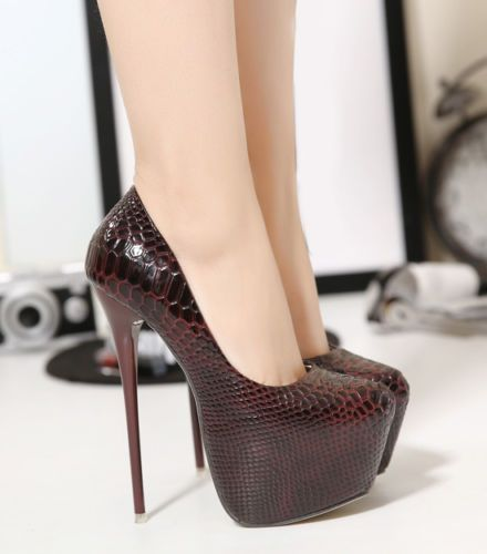 fa4d20f4a2d Women Ladies Snakeskin 6Inch High Platform Party High Heels Stiletto ...