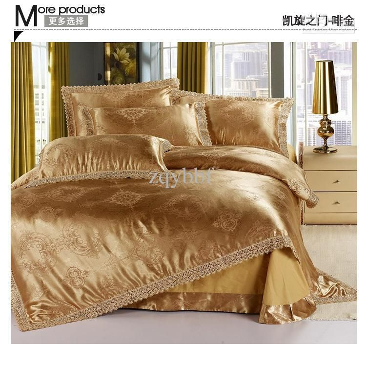 4PCS Luxurious Hand Embroidery jacquard satin bed sheet set