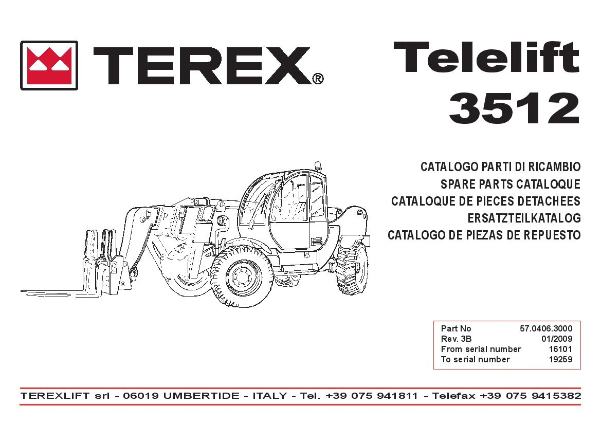 Terex lift Telelift GTH 3512 from SN 16101 to 19259 Parts