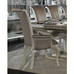 AICO Hollywood Swank Arm Chair in Pearl Finish  - Floor Sample on Clearance