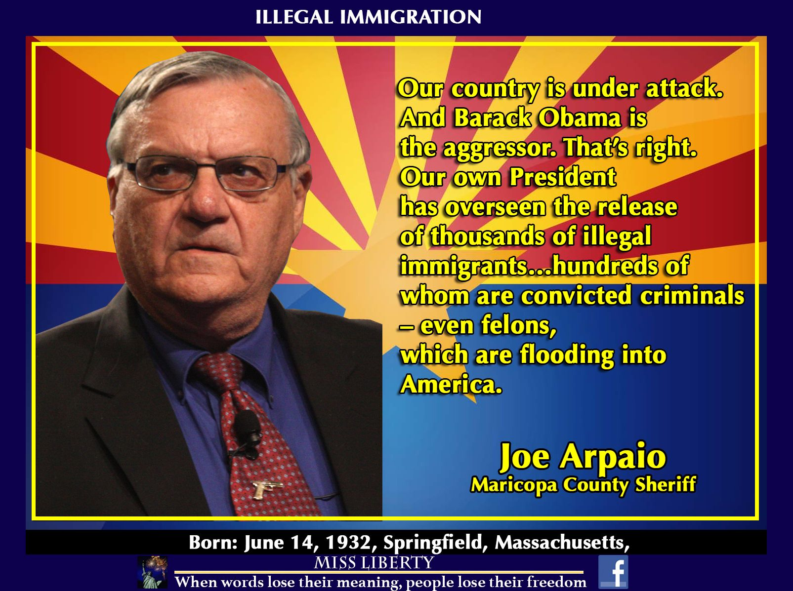 Joe arpaio about immigration quotes for freedom pinterest joe arpaio about immigration 1betcityfo Gallery