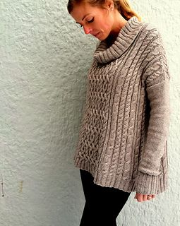 Covered in cables with a wide, loose fit, Chloe is interesting to knit and flattering to wear.