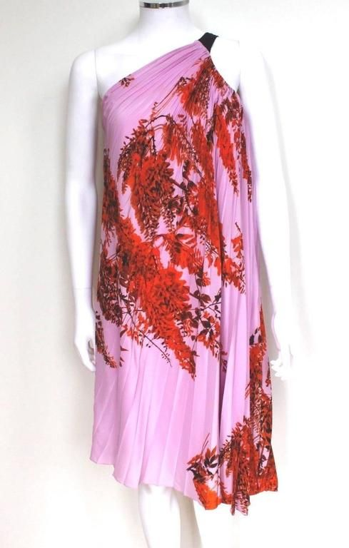 Christian Dior Pink Pleated One Shoulder Floral