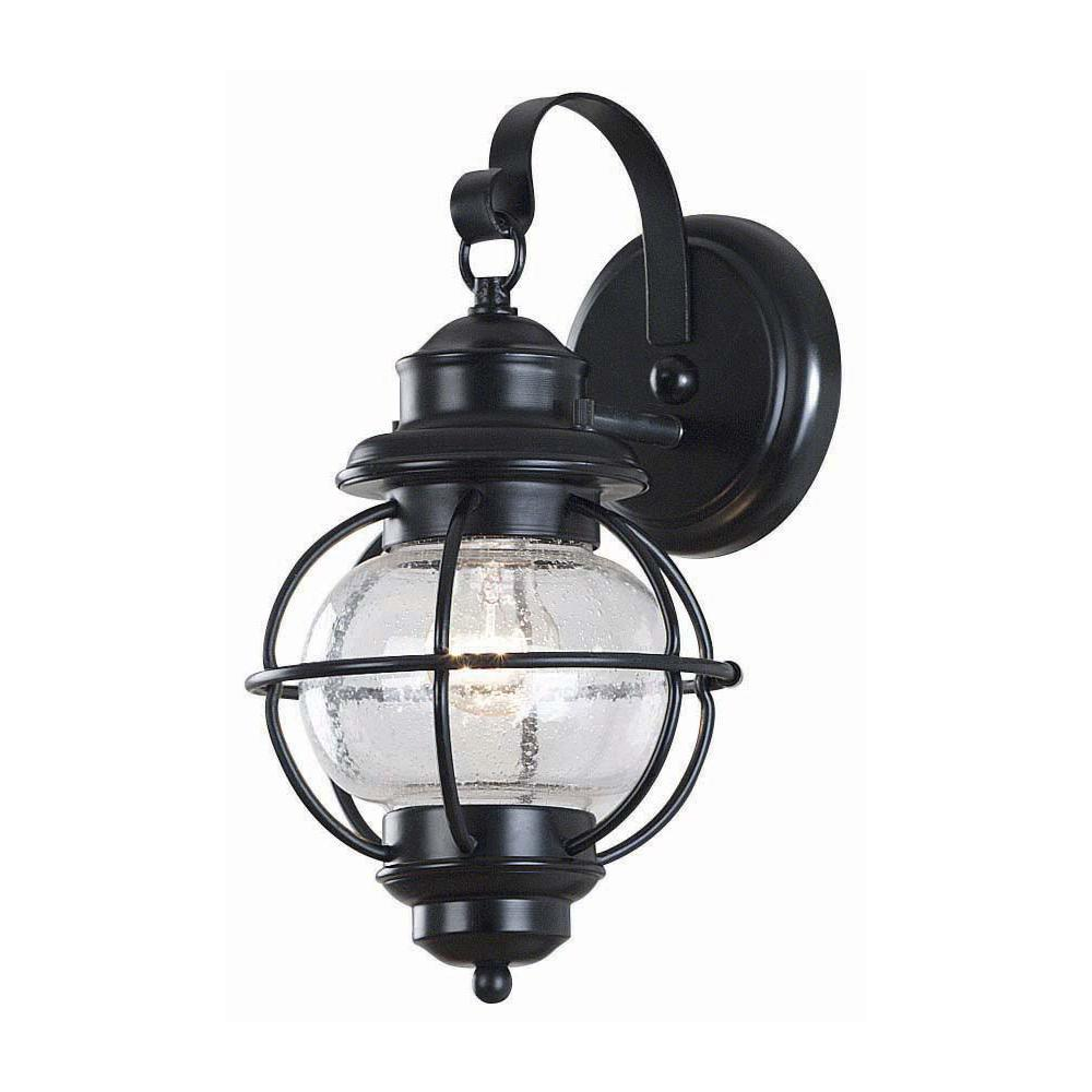 Home Decorators Collection Greer 1 Light Black Exterior Wall