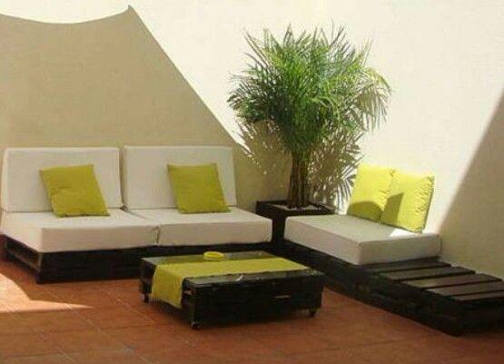 Sillones terraza sala tv jardin con palets cojines - Muebles de terraza con palets ...
