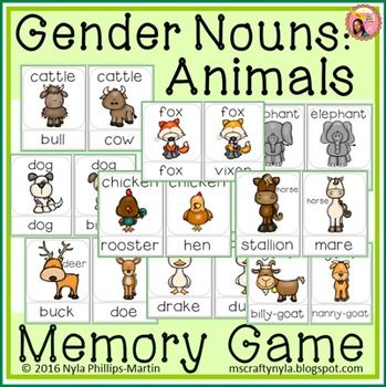 Gender nouns animals memory game also list of table teaching printables games and rh pinterest