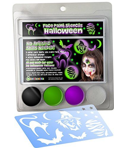 Face Paint Stencil kit HALLOWEEN IMAGES for Kids NO ARTISTIC SKILLS