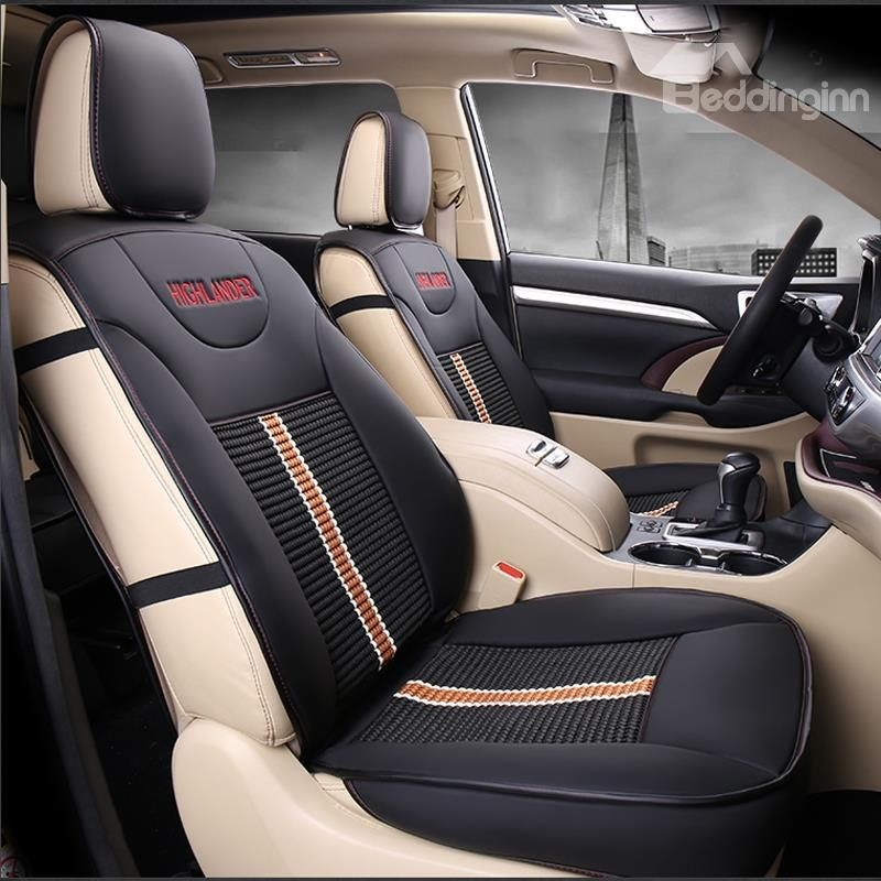 Luxurious High Grade Leather Mixed Knitting 2015 2017 Toyota Highlander Seven Seats Custom Car Seat Covers