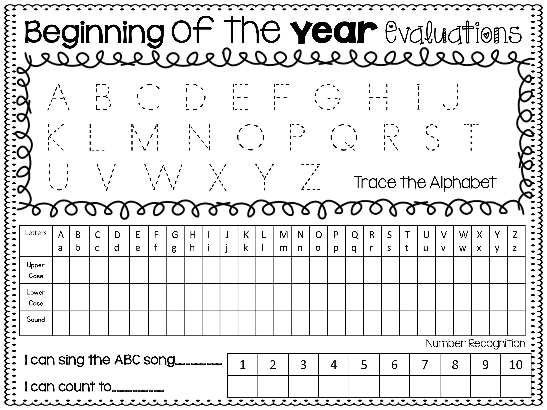 Free Beginning Of The Year Prek Kindergarten Evaluations