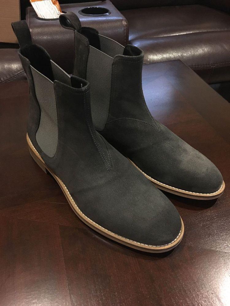 Handmade Mens dark gray Chelsea boots
