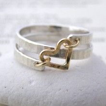 Sterling Silver & 9ct Gold Heart Spiral Ring