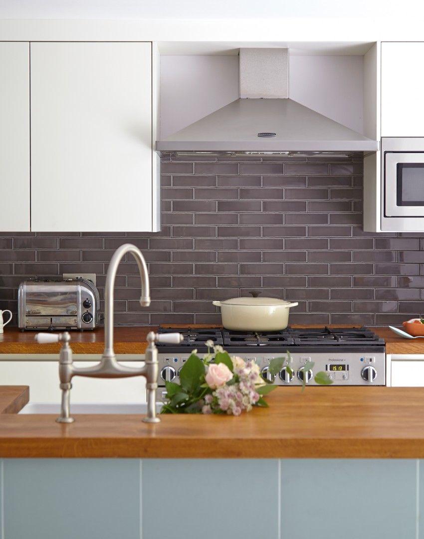 Kitchen Tiles Metro kitchen with grey metro tile splashback and range cooker