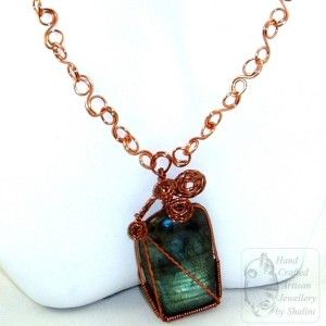 SOLD! Labradorite & Copper Pendant. This is my first Labradorite and Copper pendant. I personally feel the two really compliment each other!