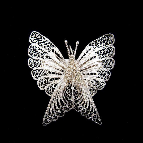 Sterling Silver Filigree Butterfly Brooch - RetroRageVictoria