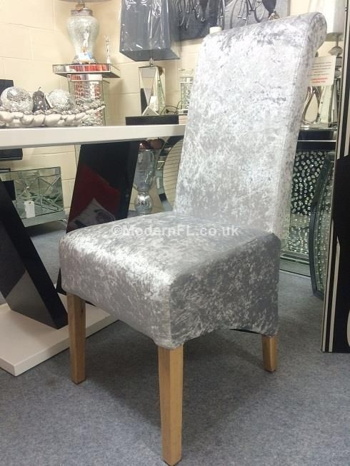 A Gorgeous Pair Of Stunning Dining Chairs Finished In Smooth Silver Crushed Velvet Material And