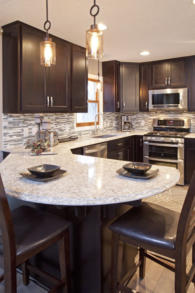 St Paul Kitchen Remodel Walls Removed New Hardwood Earl Grey Flooring Custom Java Maple Cabinetry Curved Peninsula Cambria Color Quay Counter