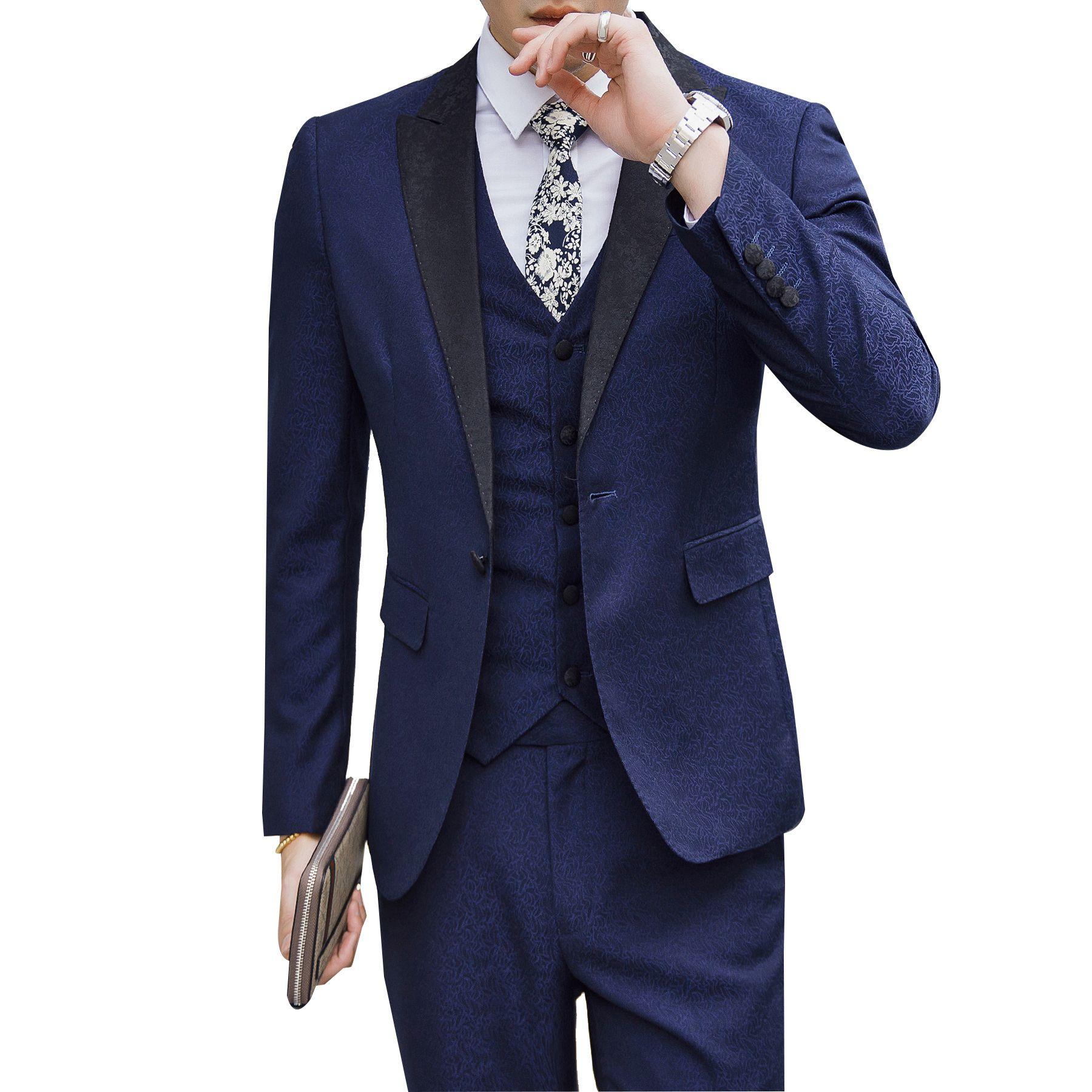 K:2158 Cool In Summer And Warm In Winter jacket+pants+tie Professional Sale Recently Design Black Mens Suits Groom Tuxedos Groomsmen Wedding Party Dinner Best Man Suits Blazer