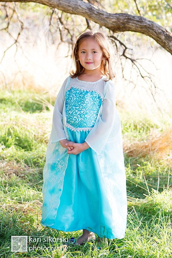 Frozen Queen Elsa inspired Girl Costume Blue by HandMadeByNeva  sc 1 st  Pinterest & Frozen Queen Elsa Costume - Toddler Washable Dress - Girl Party ...