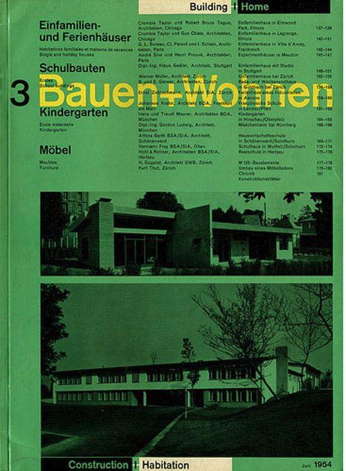 Wohnen Magazine bauen wohnen magazine 1954 graphic design