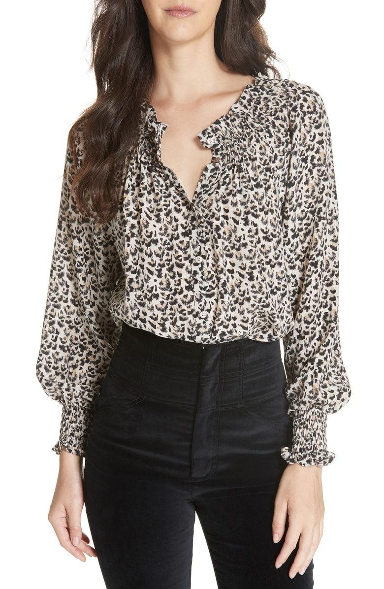 09d006c5bf960 Free shipping and returns on Rebecca Taylor Leopard Print Silk Blouse at  Nordstrom.com. Prairie style goes wild in an all-silk