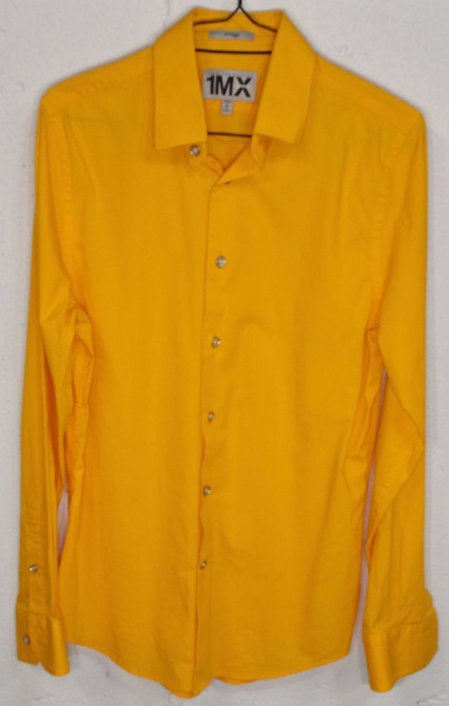 Express 1MX LIMITED EDITION Fitted Stretch Mens Long Sleeve Button ...