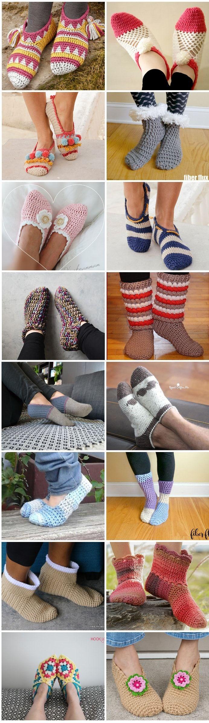16 Free Patterns for Crochet Slippers | crochet | Pinterest ...