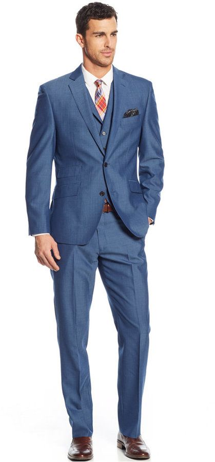 Calvin Klein X-Fit Blue Solid Extra Slim-Fit Suit Separates ...