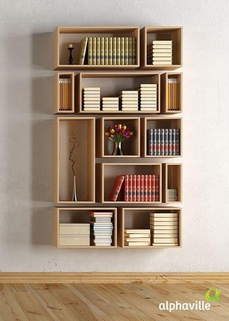 Regal für #Bücher aus einzelnen #Elementen / #book #shelf that