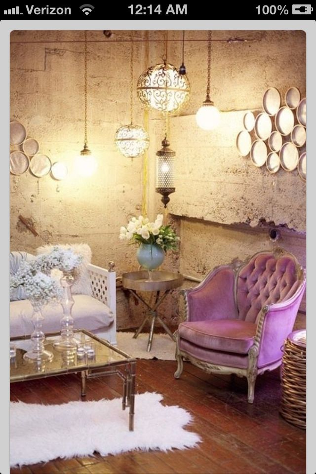 The Exposed Stone Wall And Velvet Furniture Create A Nice Juxtaposition Between Hard Soft Elements In This Room Light Purple Button