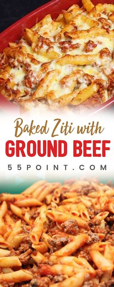 Baked Ziti With Ground Beef With Images Baked Ziti Recipes With Ground Beef Ground Beef Pasta Recipes Beef Pasta Recipes