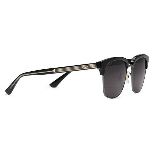 7ed00922c62 Square-frame metal sunglasses in Gold metal and black acetate frame
