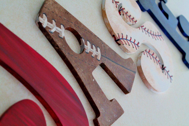 Vintage varsity sports themed hand painted by kraftinmommy on etsy