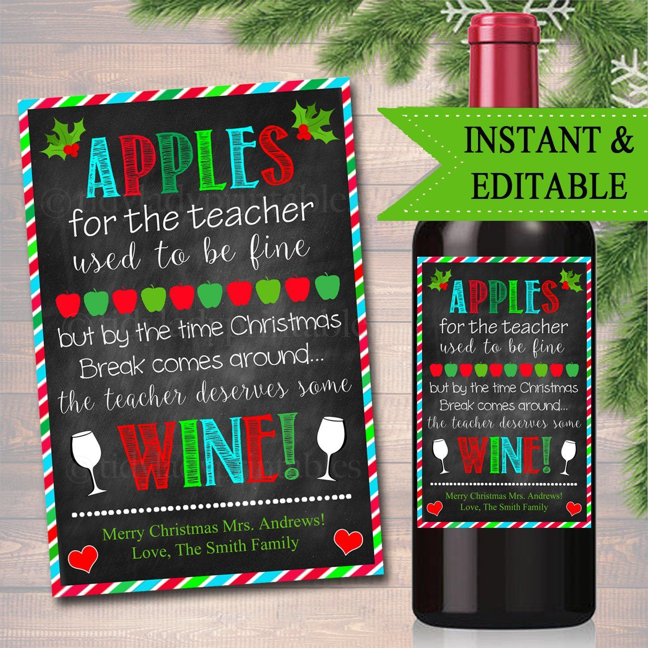 Teacher Gift, Christmas Wine Label , Printable Teacher