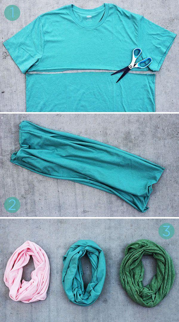 Ohne nähen!  DIY Anleitung für einen Schal aus einem alten T-Shirt in drei Schritten - Super einfach und eine tolle Idee auch für Kinder!!
