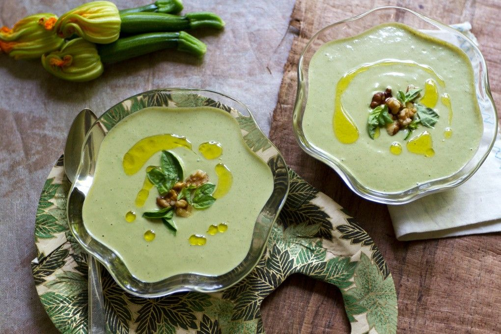 Chilled Zucchini Walnut Basil Soup | http://saltandwind.com