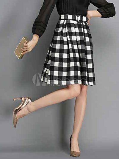 03e6c70f9 Falda de acetato a cuadros - Milanoo.com | Gustos Diana | Faldas ...