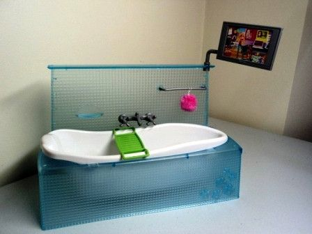 Mattel Barbie MY SCENE Doll House Bathroom Furniture BLUE BATH U0026 FLAT  SCREEN TV