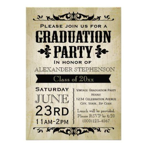 vintage graduation party invitation  grad parties graduation, invitation samples