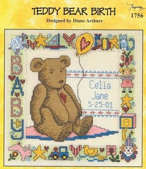 Teddy Bear Birth - (Cross Stitch) Find your next Baby cross stitch design at Cobweb Corner and save 20% on your first order with coupon WELCOMECC #crossstitch #cobwebcorner #teddybear #baby