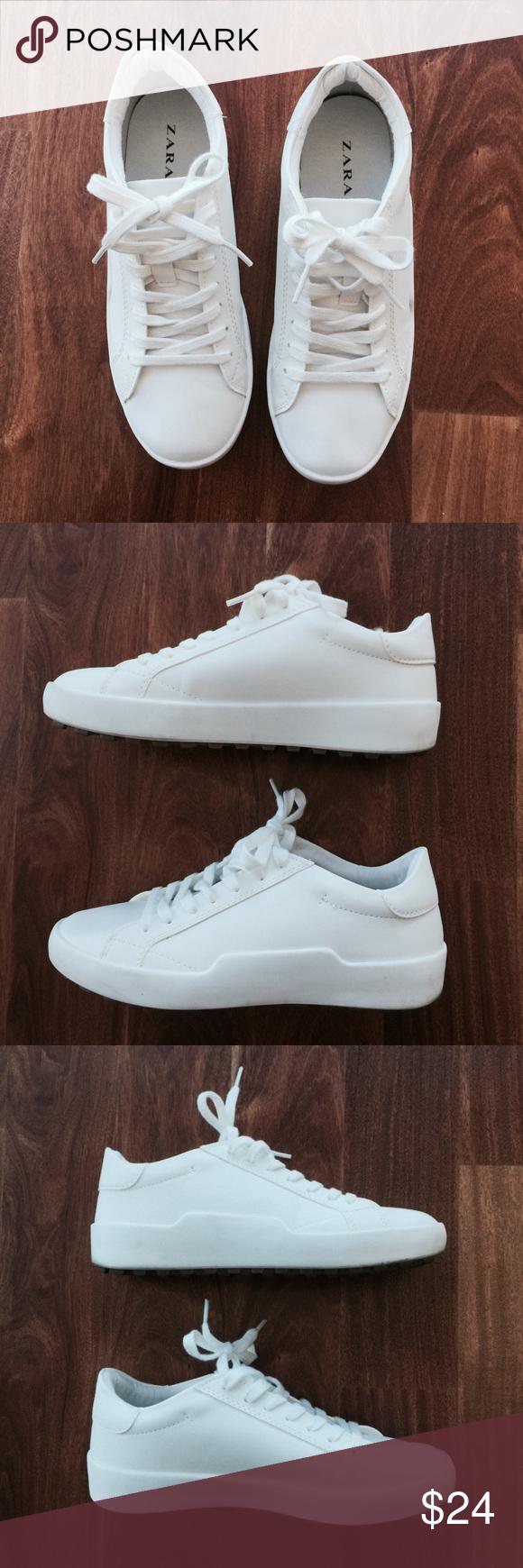 Zara TRF White Sneakers | White