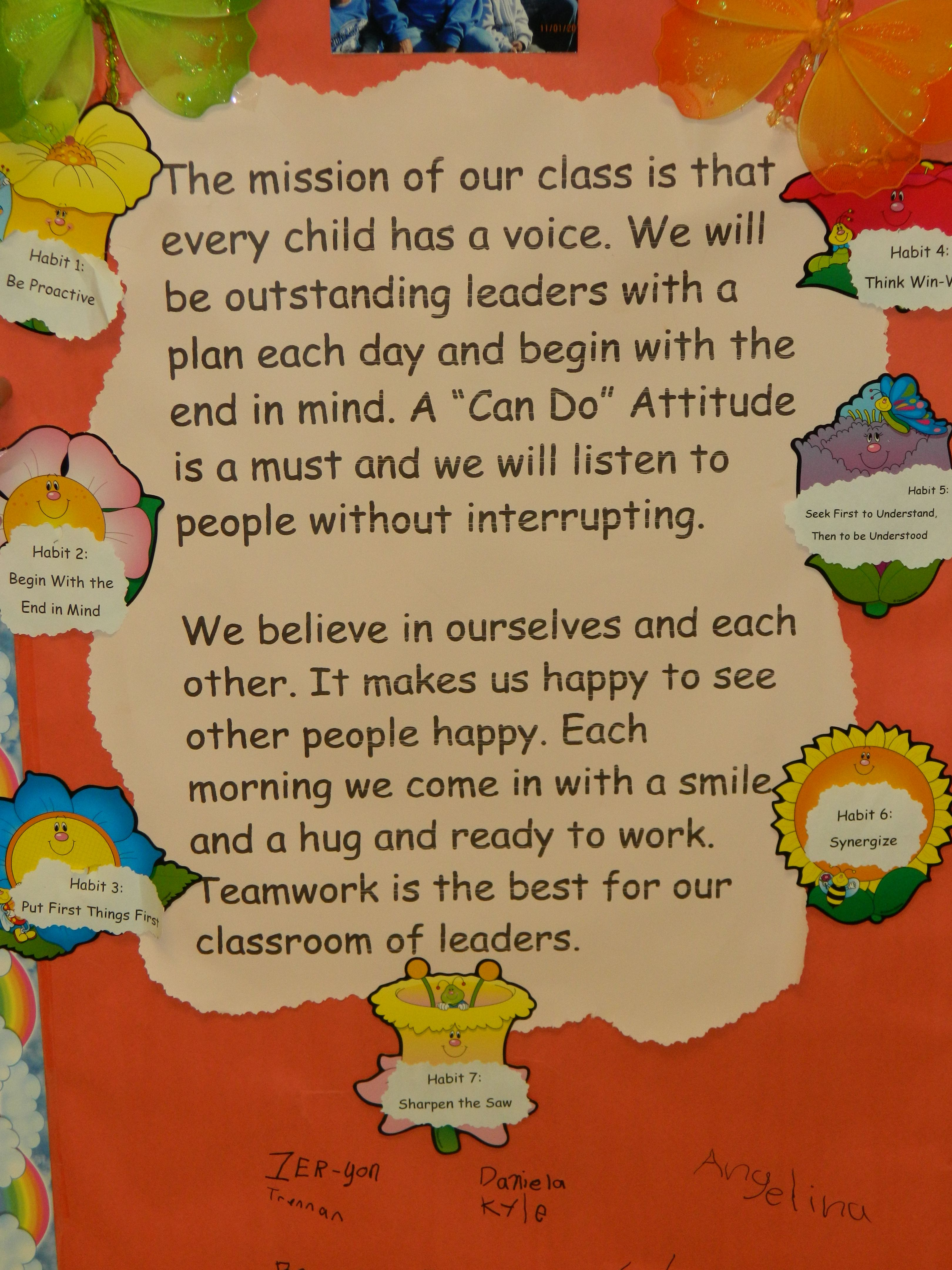 Classroom Mission Statement That Includes The Leadership