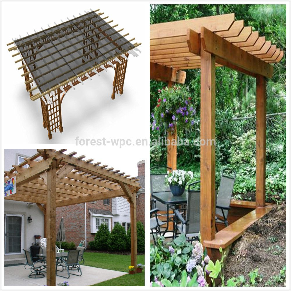 Outdoor gazebo with wpc roof plastic roof gazebos large for Large wooden gazebos