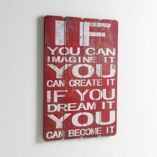 Panneau mural décoratif vintage avec une citation en anglais | Le